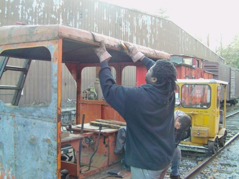 Dwite working on restoration of our Southern motor car Sept. 2011.