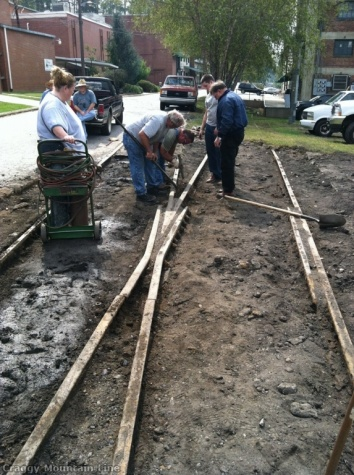 3  Pavement removal and track repair at the mill.