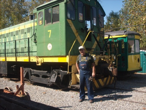 Rocky in front of the Alco diesel engine