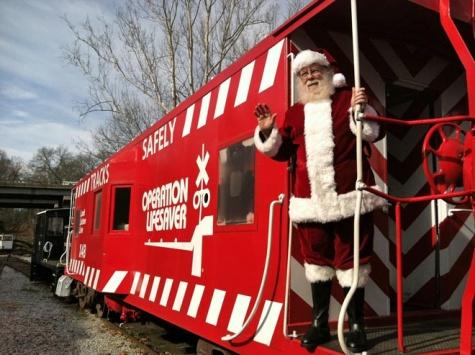 Santa waves goodbye till next year.